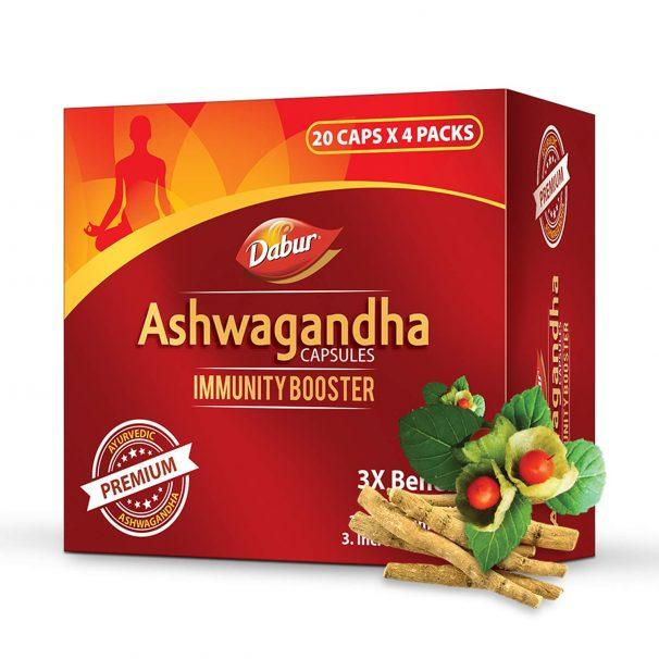 DABUR Ashwagandha Capsules- Immunity Booster - 20 Capsules (Pack of 4) at Rs.299