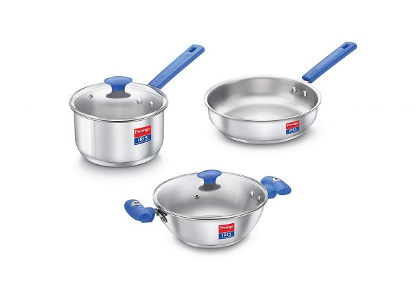 Prestige Platina Special BYK Stainless Steel Cookware set (Kadai, Fry Pan & Sauce Pan with 2 Glass lids) at Rs.1999