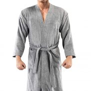 AVILIVING Textured Bathrobe with Insert Pockets at Rs.1619
