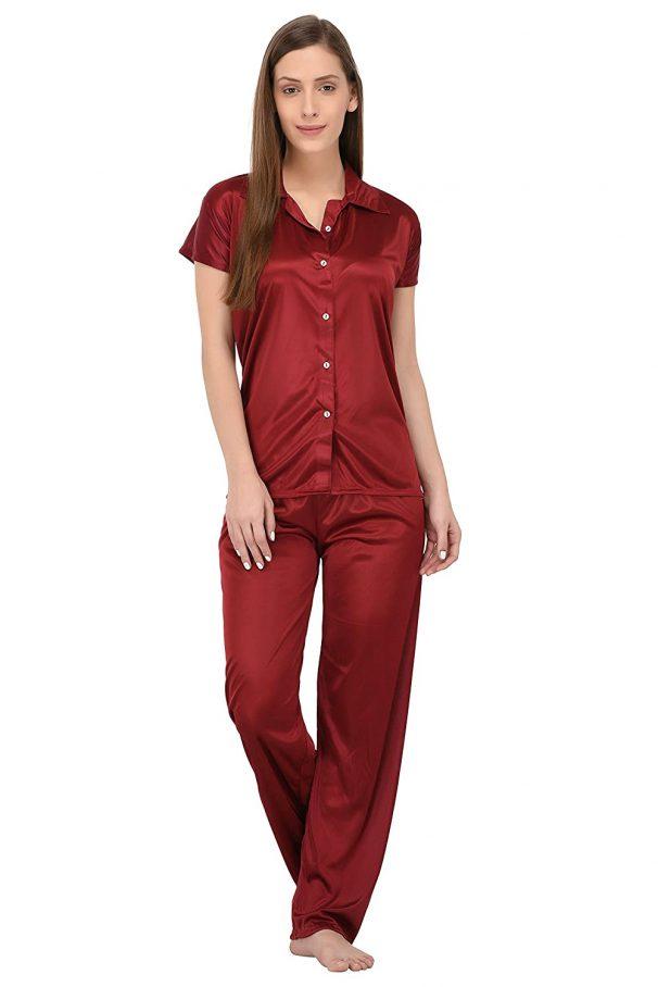 Fabme Women's Plain Satin Night Suit (Shirt and Pyjama) at Rs.249