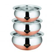 Meqstore Home Kitchen Appliances Stainless Steel Serving Handi Pan Set of 3 at Rs.379