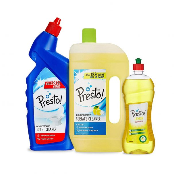 Amazon Brand - Presto! Combo (Toilet Cleaner 1 L + Surface Cleaner 975 ml + Dishwash Gel 750 ml) at RS.299
