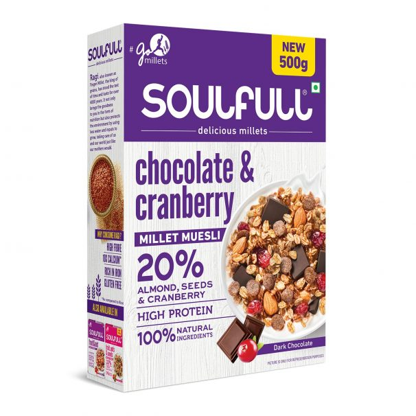 Soulfull Chocolate and Cranberry Millet Muesli, 500g at Rs.299.25