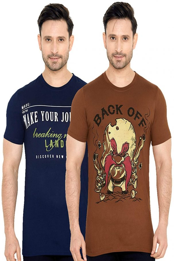 GLOBALRANG Men's Half Sleeve Cotton T-Shirt (Pack of 2) at Rs.249