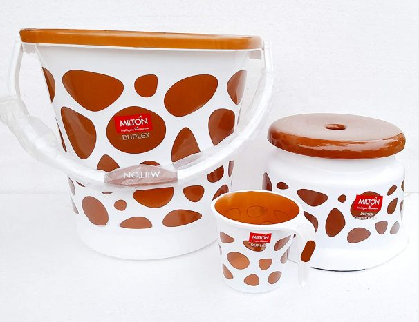 MILTON Duplex Plastic Bucket with Mug and Stool (20 L, Brown) at Rs.718