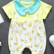 Kookie Kids Half Sleeves Romper Flower Print - Yellow at Rs.989