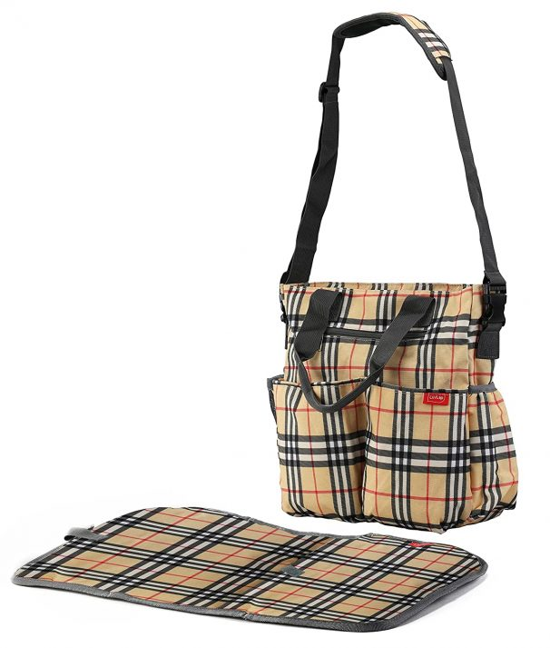 LuvLap Adore Diaper Nappy Bag with Diaper Changing Mat, Brown at Rs.1102