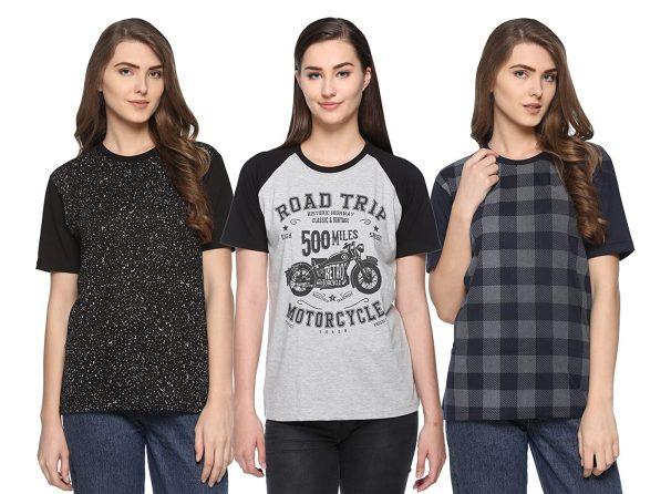 SHAUN 69GAL Women Round Neck T-Shirt(Pack of 3) at Rs.799