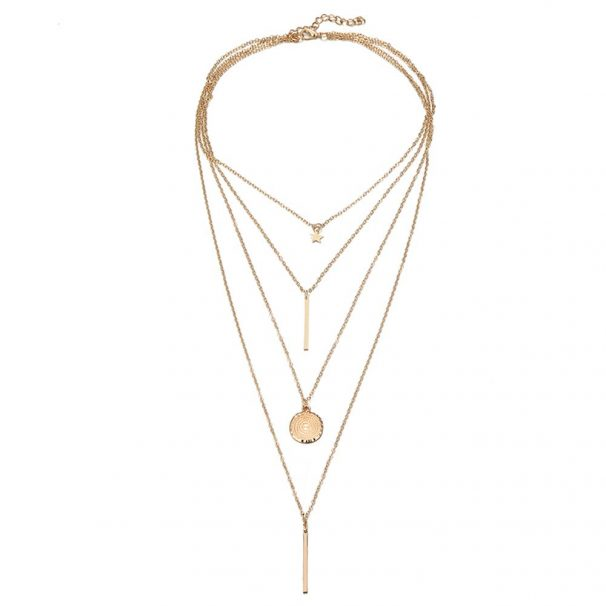 Jewels Galaxy Stylish Multi Layered Gold Plated Stunning Necklace for Women/Girls at Rs.177