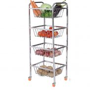 LiMETRO STEEL Stainless Steel 4 Layer Fruit Vegetable Trolley | Kitchen Trolley at Rs.1599