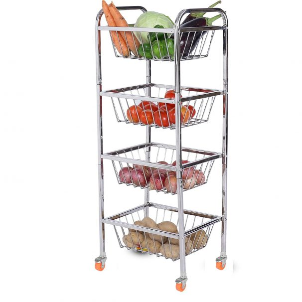 LiMETRO STEEL Stainless Steel 4 Layer Fruit Vegetable Trolley   Kitchen Trolley at Rs.1599
