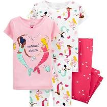 Carter's 4-Piece Mermaid 100% Snug Fit Cotton PJs - Pink at Rs.1325.32