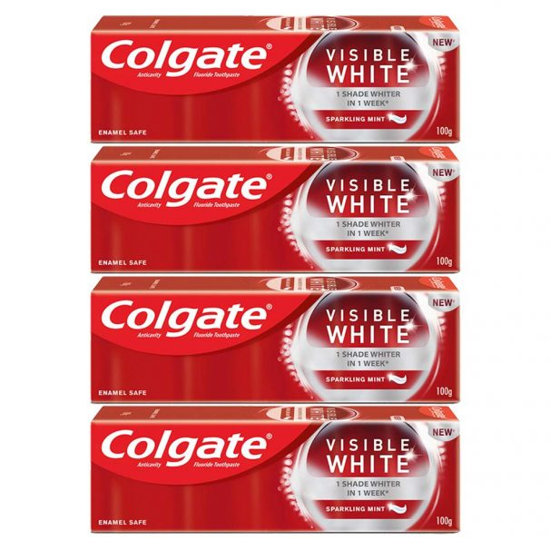 Colgate Visible White Teeth Whitening Toothpaste, Protects Enamel, Removes Stains, With Whitening Accelerators, 400g, 100g X 4 at Rs.317