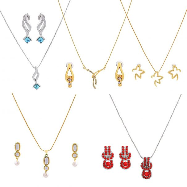Gehena By Estele Gold plated necklace set combo of 5 for women with fancy austrian crystals at Rs.362