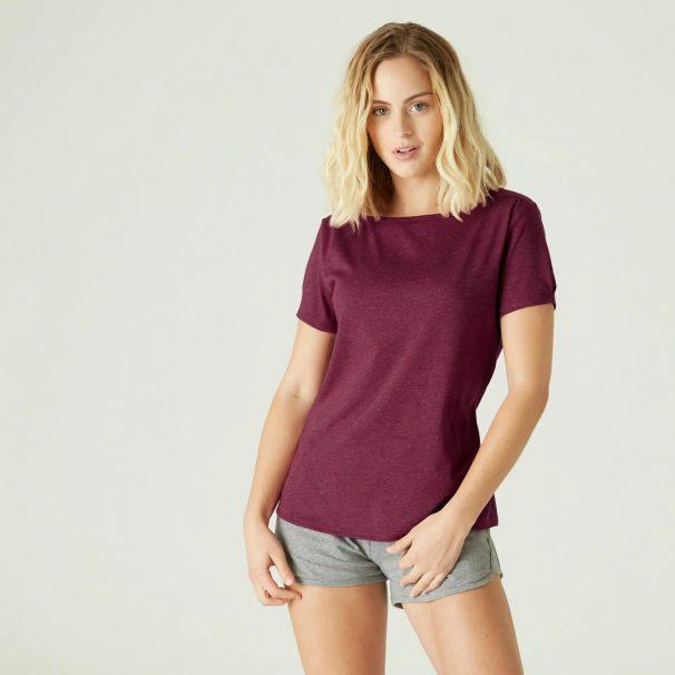 Women's Cotton Gym T-shirt Regular fit Boat neck 510 - Purple